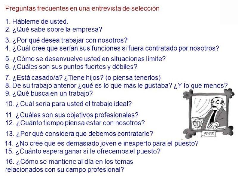 28 Preguntas Entrevista Trabajo Formacion Y Orientacion